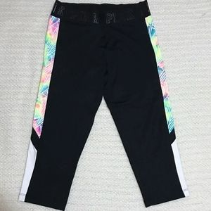 VS PINK Black Neon Print Crop Ultimate Leggings